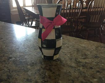 Black And White Checked Vase
