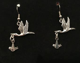 Silver stork with baby earrings