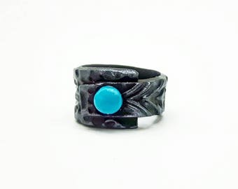 Antique silver look polymer clay ring