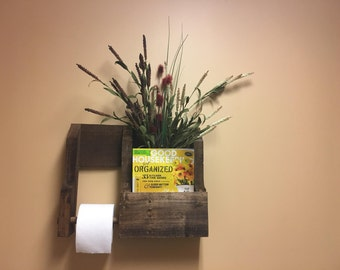 Rustic Reclaimed Wood Toilet Paper Holder with Storage