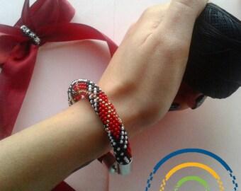 Bracelet Bead crochet Bracelet tow red Burberry handmade