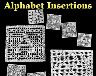 26 Mix & Match Alphabet Insertions Filet Crochet Pattern