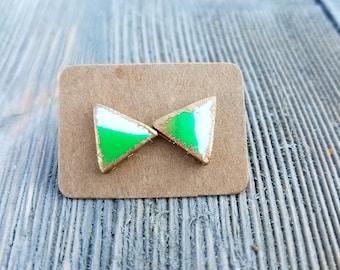 Green Triangle Earrings, Green Stud Earrings, Triangle Stud Earrings, Green and White Earrings, Triangle Earrings, Birthday Gift for Her,