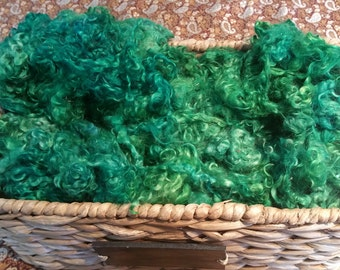 Hand Dyed Mohair Locks and Fleece 1 oz. **Funky Green**
