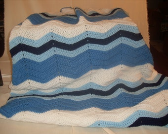 Blue and White Ripple Crocheted Afgan
