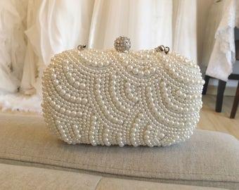 Cream Bridal Clutch, Pearl Clutch, Wedding Clutch, Bridesmaids Clutch, Bridal Accessory, Pearl Clutch, Pearl Accessories, Free Shipping!