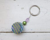 Crochet keychain, blue keychain, pink keychain, beaded keychain, handmade, cute keychain, wooden beads, gift idea, ready to ship