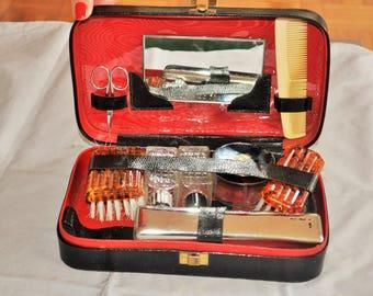 Era black leather travel kit