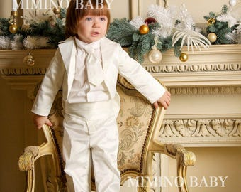 LITTLE GENTLEMAN 4- pieces boy's special occasion suit, boys baptism outfit, boy's special occasion outfit, boys baptism suit, boys set