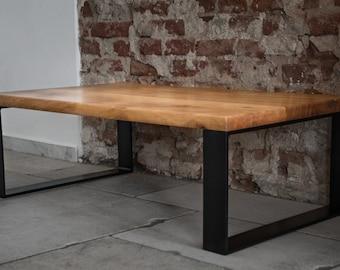 Elaine - solid wood coffee table oak steel frame