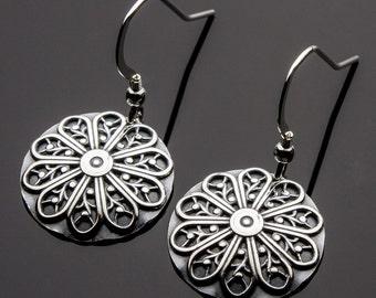 Filigree Sterling Silver Earrings, Handmade Filigree Earrings, Sterling Silver Earrings, Filigree Dangle Earrings, Handmade Earring Design