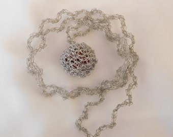 Amigurumi crochet long necklace, made with a thin wire, silver color