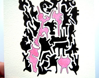 Abtract Forms, Drawing, China Ink, Unframed, Original Painting