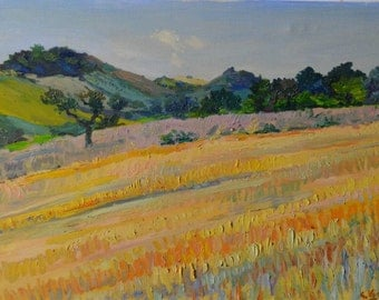 Wheat field and Hills-oil on canvas