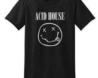 ACID HOUSE T-Shirt in black or white - Hacienda, 90s rave, smiley face nirvana grunge