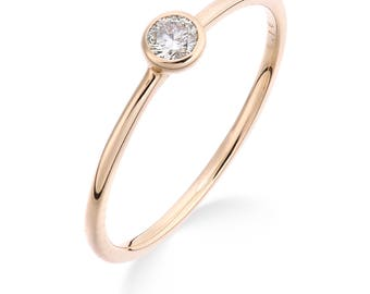 18ct Rose gold diamond solitaire stackable ring