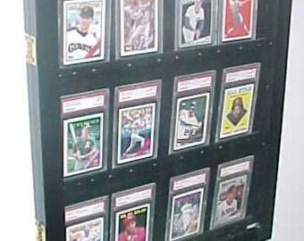 Graded Baseball Sportscard Display case, Display Case for Graded Sports Cards, Card Display case, PSA, Beckett, BGS, Glossy Black 12 PSA