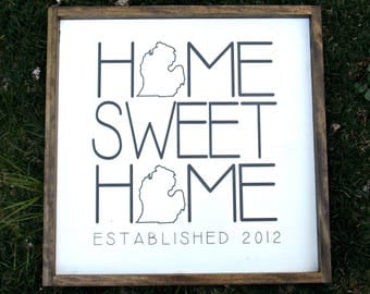 Home sweet home | Michigan | rustic decor | wood sign | farmhouse | wall decor
