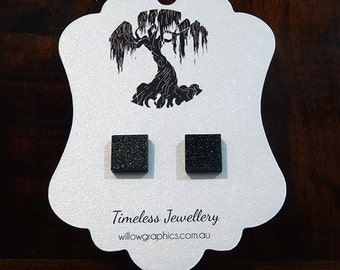Black Square Earring Studs