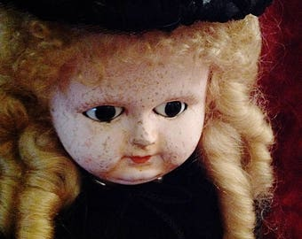 Elegant, Early Wax Over Papier Maché German Doll ~ 1800s