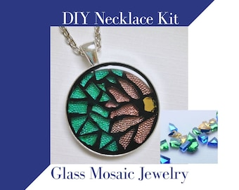 Glass Mosaic Necklace Activity, Jewelry Making Complete kit, Makes one necklace, Colored Mirror Glass, DIY Craft Kit Great Gift for Crafter
