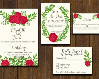 Rustic Wedding Invitation 4pc. Set (PDF or JPEG)