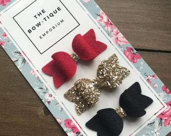 Glitter Hair Bow Trio