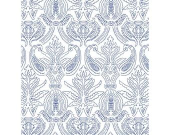 Modern Brocade adhesive wallpaper, blue, white
