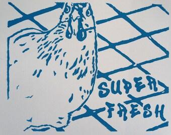 Linocut Chicken Print (Cerulean Blue)