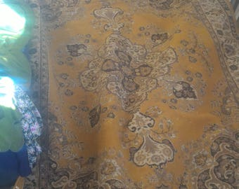 Vintage heavy persian handknotted wool yellow rug