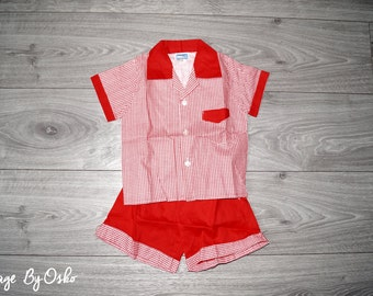 Vintage 1970s Unworn Boys TELSALDA Red,White Shirt & Shorts Set Age 2-3 Years,