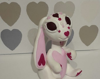 White and pink valentines bunny