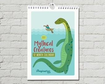 SALE 75% OFF - 2017 Calendar- Wall Calendar- Monthly calendar- 2017 Wall Calendar- Mythical Creatures- Wall Art - Mermaid - Bigfoot - Yeti