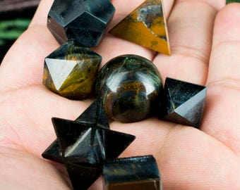 Seven Piece Tiger Eye Platonic Geometric Set - Crystal Geometric Set