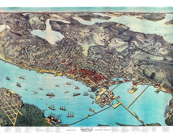 "1891 Seattle, Washington Birdseye View Map Art Print 13"" x 19"" Reproduction"