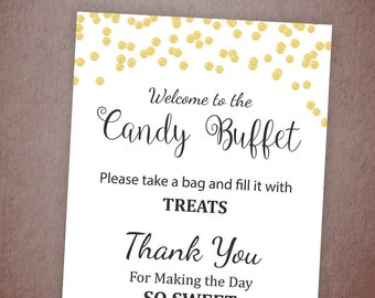 Candy Buffet Sign, Printable Candy Bar Sign, Gold Confetti Table Sign, Grab a Treat Sign, Baby Shower, Bridal Shower Decor, BSG1