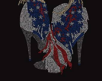 Rhinestone  USA 4th of July High Heel Ladies T Shirt or DIY Iron On Transfer            8T0D