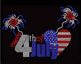 Rhinestone  Happy 4th of July Ladies T Shirt or DIY Iron On Transfer          EQP8