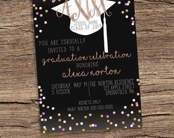 Graduation Invitation, Glitter Invitation, Class of Invitation, Custom Graduation Invitation, Monogram Invitation