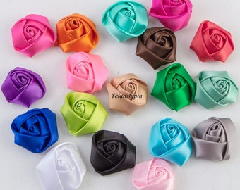 Free Shipping Flat Back Mini Satin Ribbon Rose Flower Accessories Handmade Rolled Rosettes For Hair Clip Or Headband Flower Supplies 1.5""