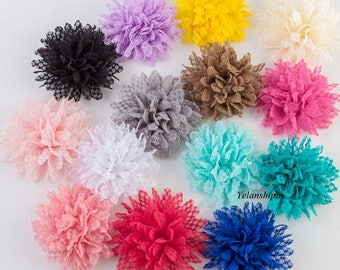 "4"" 14 Colors Hot Sale Solid Ballerina Lace Flower For Baby Girl Hair Accessories Artificial Fabric Flowers For Headbands"