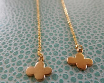 Delicate gold plated cloud threader chain hook earrings