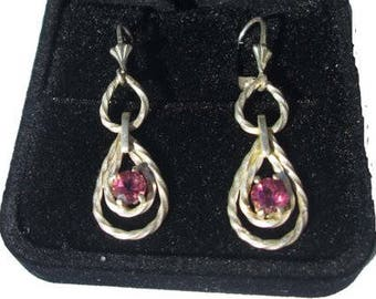 Handmade Silver earrings with pink topaz