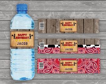 Cowgirl Water Bottle Label, Western Water Bottle Label, Wild West Bottle Label, Country Water Bottle Label, Personalized Water Bottle Labels