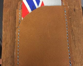 hand stitched leather credit card/cash holder