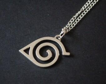 Silver tone Naruto hidden leaf symbol necklace