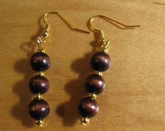 Dark Brown Wooden Earrings with Gold Toned Accents