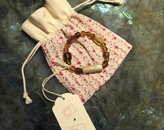 Milk & Amber Honey Glass Beaded Bracelet