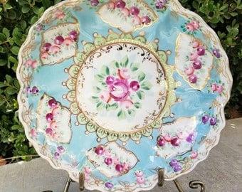 Antique floral hand painted plate, vintage, antique