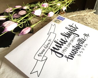 Handwritten Addressed Envelope-Carnation Design